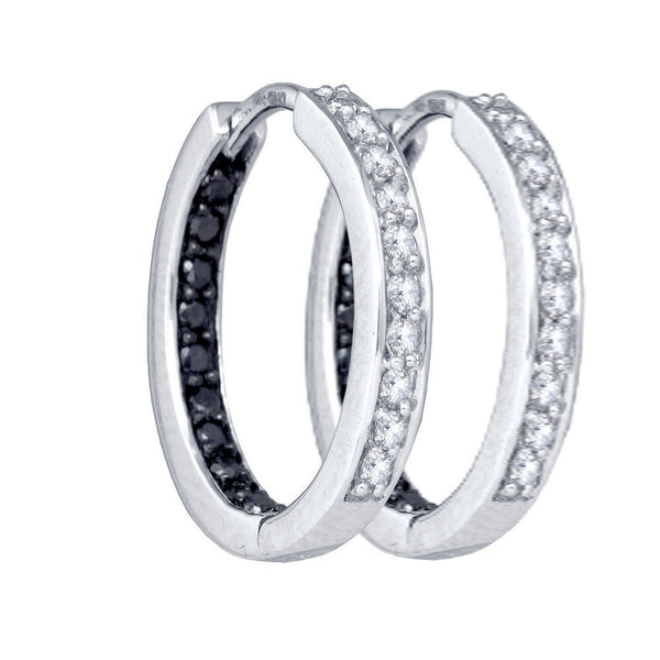 10k White Gold Black Colored Diamond Womens 1/2
