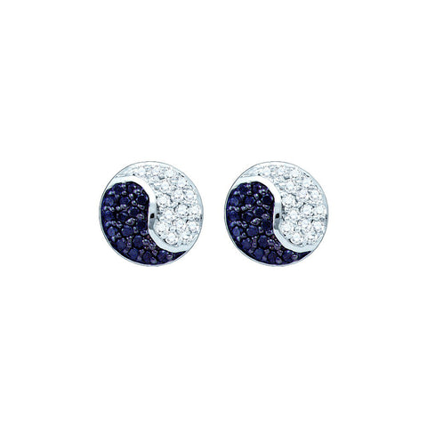 10k White Gold Black Colored Diamond Cluster Ying Yang Unisex Mens Screwback Stud Earrings 1/3 Cttw