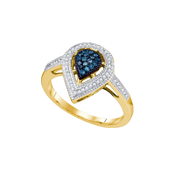 10kt Yellow Gold Womens Round Blue Colored Diamond Teardrop Cluster Fashion Ring 1/4 Cttw