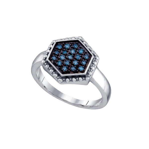 Sterling Silver Womens Round Blue Colored Diamond Hexagon Cluster Fashion Ring 1/5 Cttw