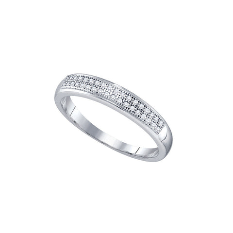 10k White Gold Round Pave-set Natural Diamond Womens Bridal Wedding Anniversary Band 1/10 Cttw
