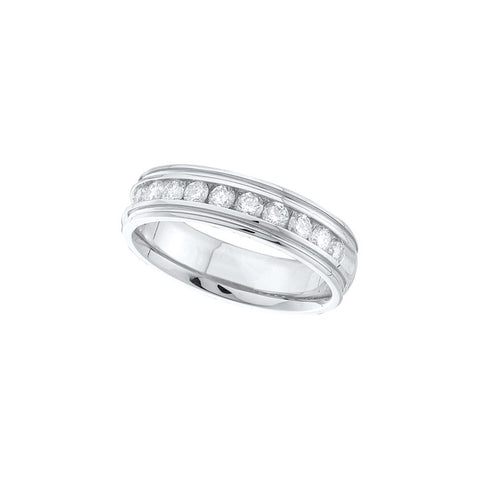 14k White Gold Round Channel-set Diamond Mens Masculine Traditional Classic Wedding Band 1.00 Cttw