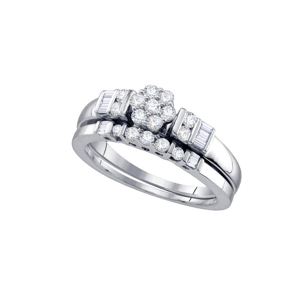 10k White Gold Round Natural Diamond Flower Cluster Womens Wedding Bridal Ring Set 1/2 Cttw