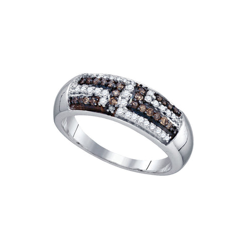 Sterling Silver Womens Round Cognac-brown Colored Diamond Fashion Band Ring 3/8 Cttw