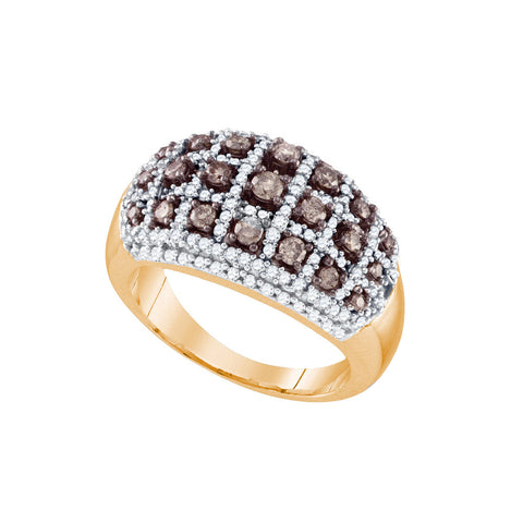 10k Rose Gold Womens Cognac-brown Diamond Dome Striped Cocktail Fashion Ring 3/4 Cttw