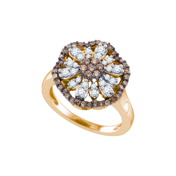 10k Rose Gold Womens Cognac-brown Colored Round Diamond Flower Cluster Fashion Ring 3/4 Cttw