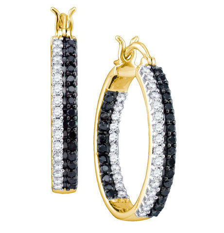 10kt Yellow Gold Womens Round Black Colored Diamond Inside-Outside Hoop Earrings 9/10 Cttw