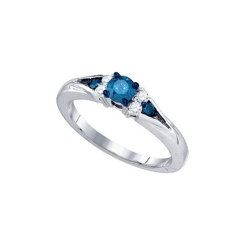 10k White Gold Blue Colored Round Natural Diamond Womens Fancy Bridal Wedding Engagement Ring 1/2 Cttw