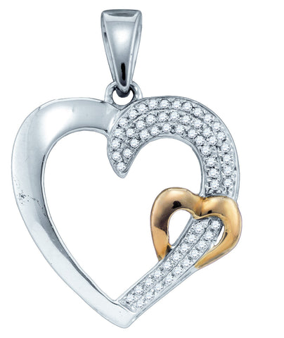 Sterling Silver Womens Round Natural Diamond 2-tone Heart Love Fashion Pendant 1/6 Cttw