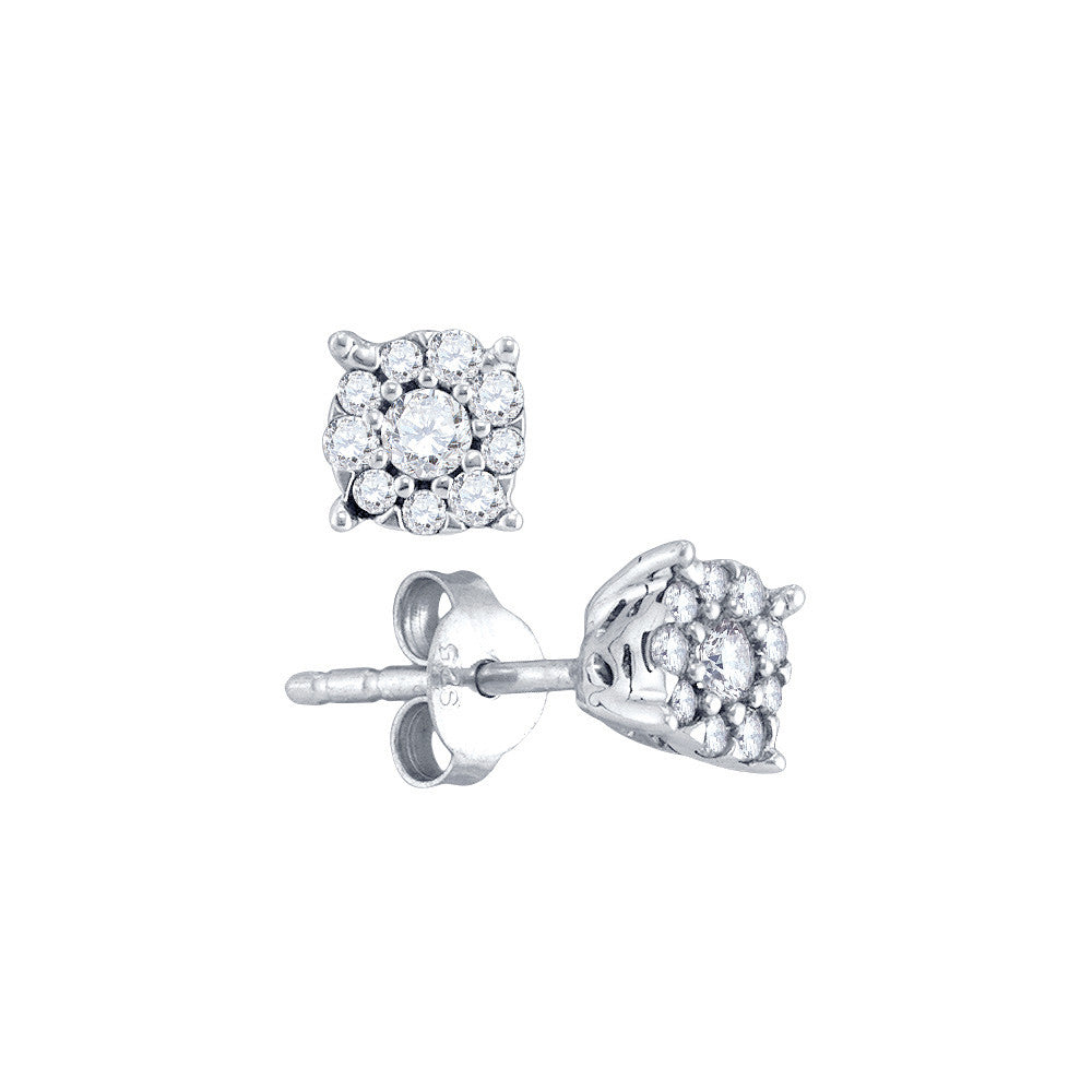 72a84ae29 10k White Gold Womens Natural Round Diamond Cluster Screwback Stud Earrings  1/4 Cttw