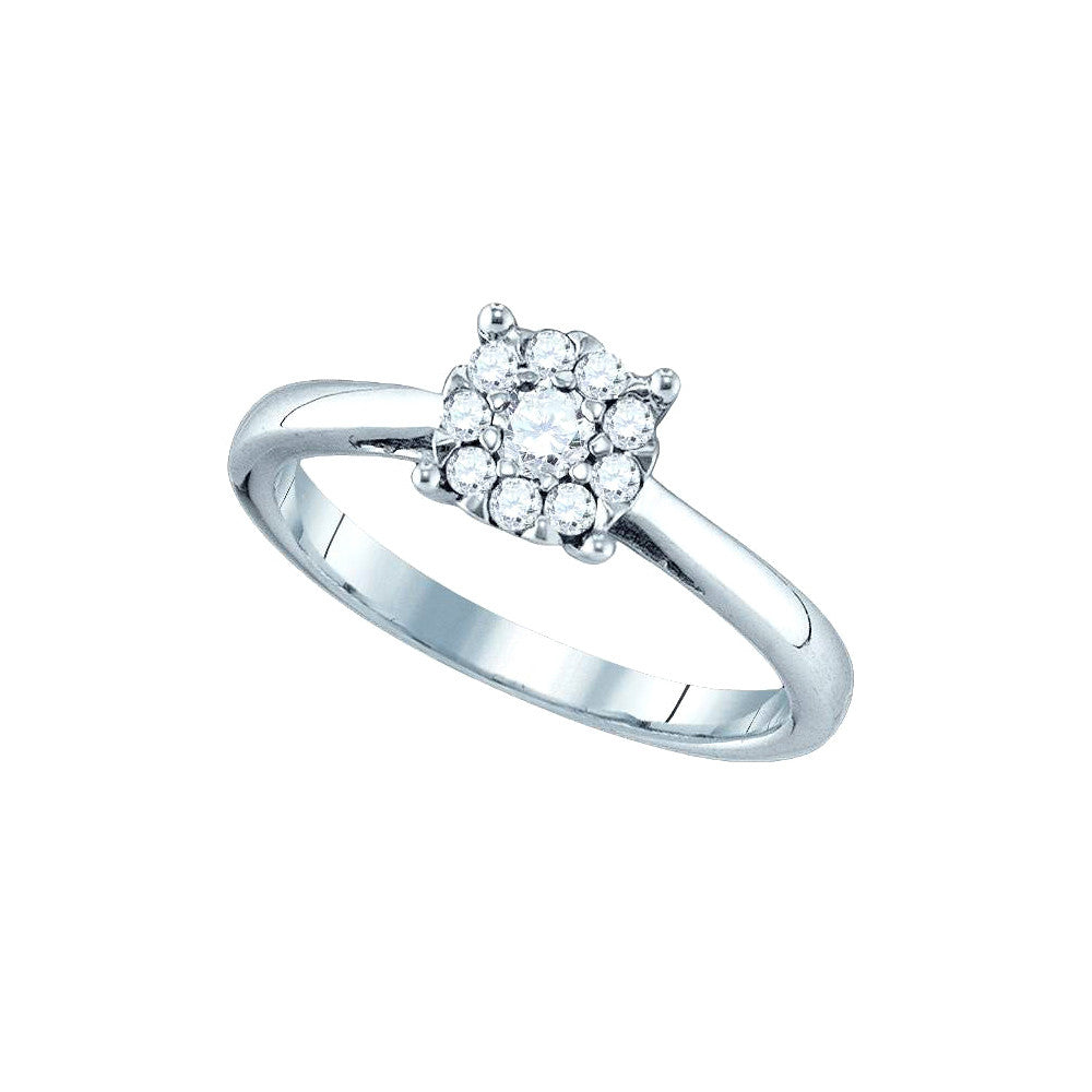 18kt White Gold Womens Round Natural Diamond Cluster Bridal Wedding Engagement Ring 1.00 Cttw