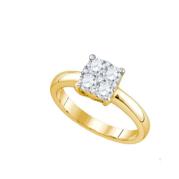 18kt Yellow Gold Womens Round Natural Diamond Cluster Bridal Wedding Engagement Ring 9/10 Cttw
