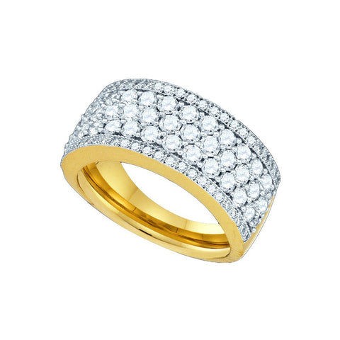 14kt Yellow Gold Womens Round Natural Diamond Band Fashion Ring 1 & 5/8 Cttw