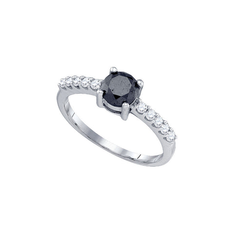 10k White Gold Round Black Colored Diamond Solitaire Womens Bridal Wedding Engagement Ring 1.00 Cttw