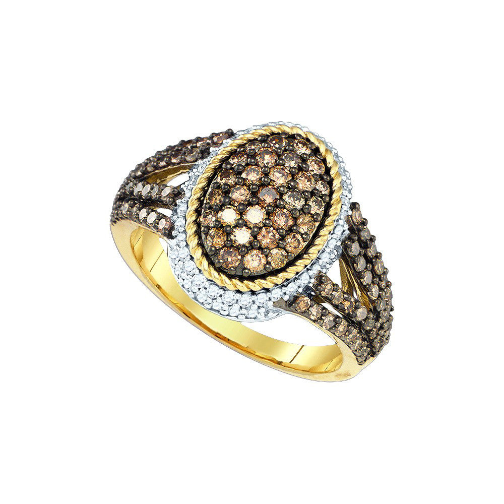 Womens Round Cognac-brown Colored Diamond Oval Cluster Roped Fashion Ring 1 & 1/5 Cttw