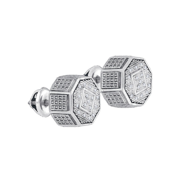 Sterling Silver Unisex Round Natural Diamond Octagon Cluster Stud Fashion Earrings 1/10 Cttw