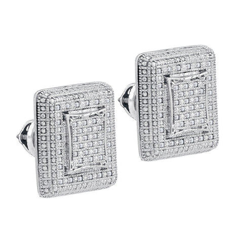 Sterling Silver Unisex Round Natural Diamond Square Cluster Stud Fashion Earrings 1/4 Cttw