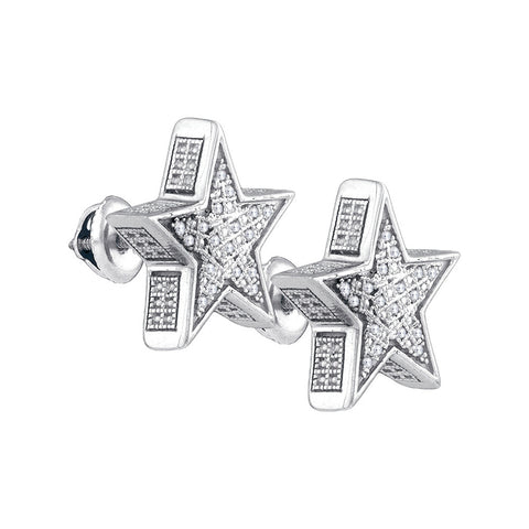 Sterling Silver Womens Round Natural Diamond Star Screwback Fashion Earrings 1/8 Cttw