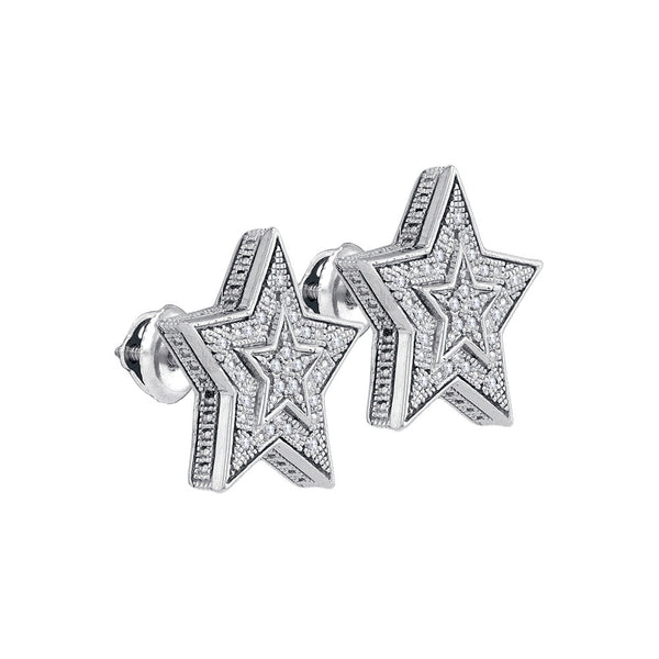 Sterling Silver Womens Round Natural Diamond Star Cluster Stud Fashion Earrings 1/10 Cttw