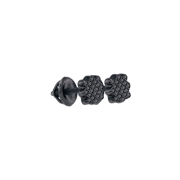 Sterling Silver Round Black Colored Diamond Cluster Screwback Stud Fashion Earrings 1/20 Cttw