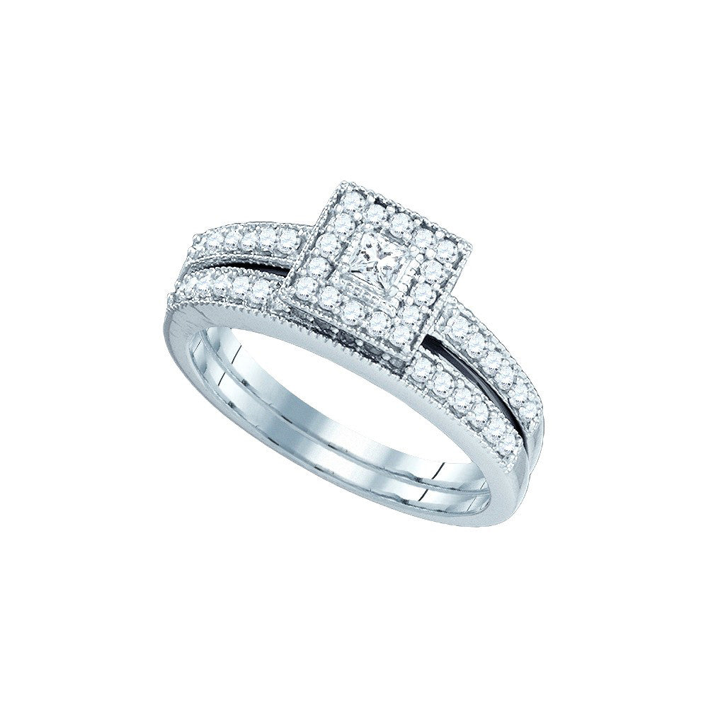 10k White Gold Natural Princess Diamond Solitaire Womens Square Halo Wedding  Bridal Ring Set 1/