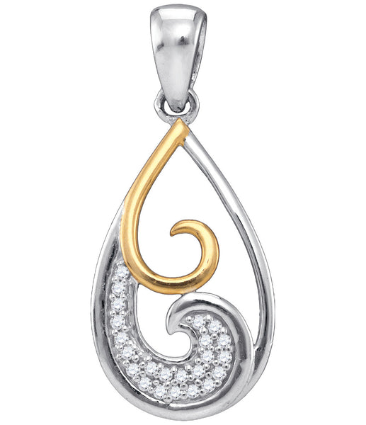Sterling Silver Womens Round Diamond 2-stone Teardrop Fashion Pendant 1/20 Cttw