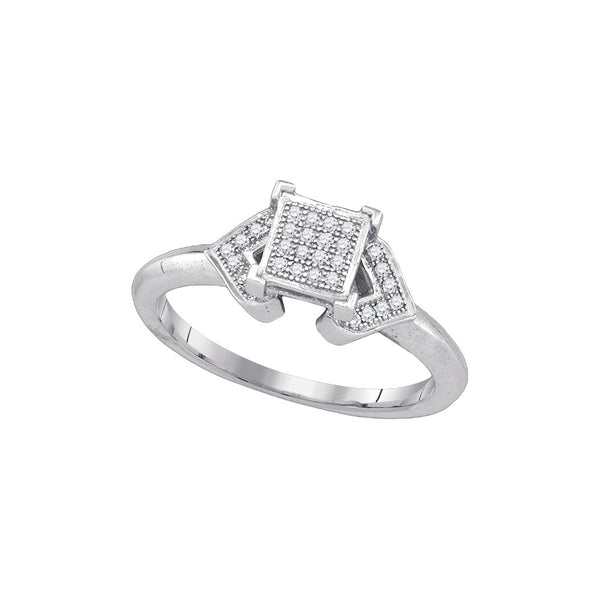 10kt White Gold Womens Round Natural Diamond Square Cluster Fashion Ring 1/10 Cttw