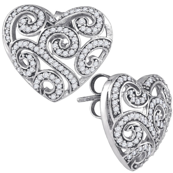 10k White Gold Round Pave-set Natural Diamond Womens Hearts Screwback Stud Earrings 1/2 Cttw