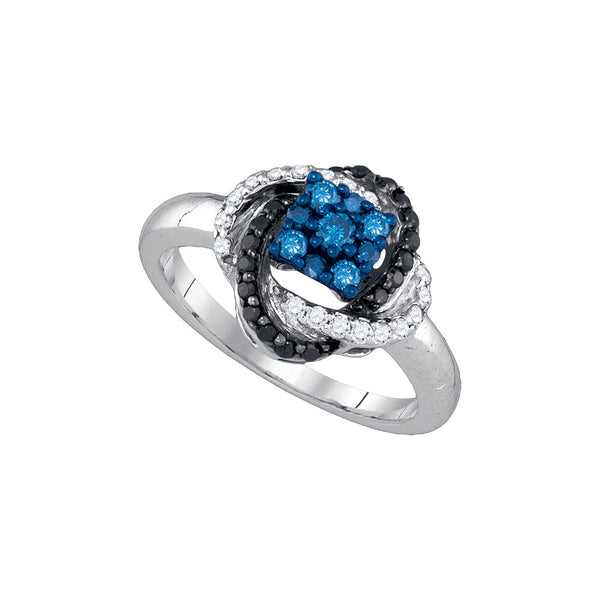 10kt White Gold Womens Round Blue Colored Diamond Cluster Fashion Ring 1/2 Cttw