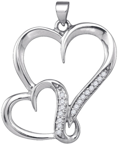 Sterling Silver Womens Round Natural Diamond Double Heart Love Fashion Pendant 1/10 Cttw