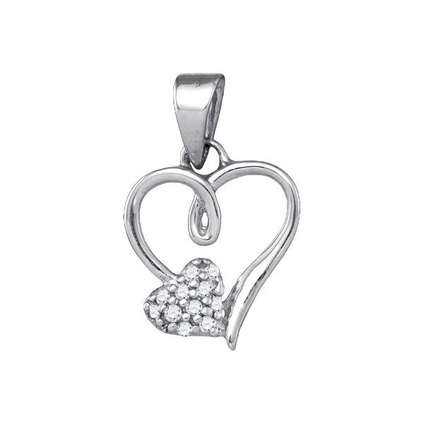 Sterling Silver Womens Round Natural Diamond Heart Love Fashion Pendant 1/20 Cttw