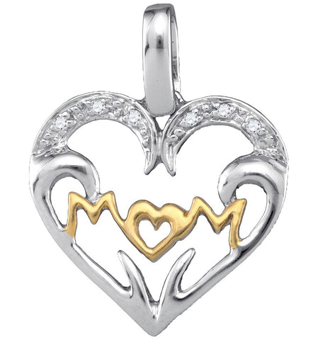 Sterling Silver Womens Round Natural Diamond Mom Mother Heart Fashion Pendant .03 Cttw