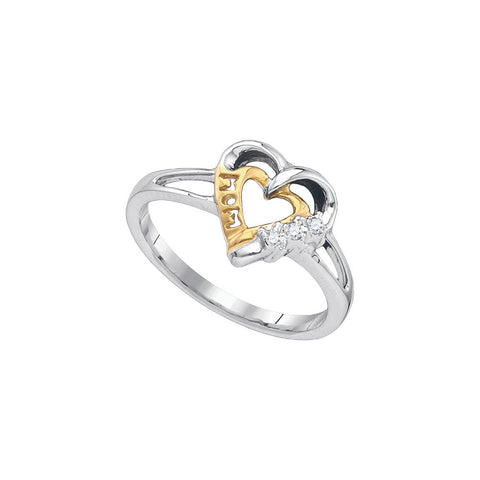 Sterling Silver Womens Round Natural Diamond Mom Mother Heart Fashion Ring .03 Cttw