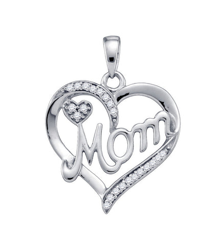 Sterling Silver Womens Round Natural Diamond Mom Mother Heart Fashion Pendant 1/8 Cttw