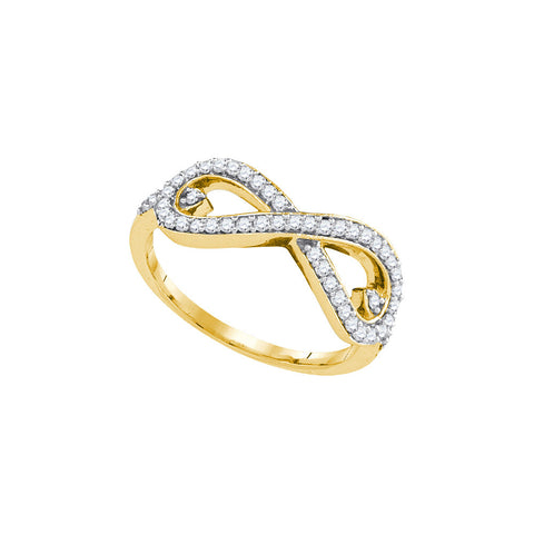10k Yellow Gold Womens Round Diamond Infinity Love Woven Valentines Ring 1/3 Cttw