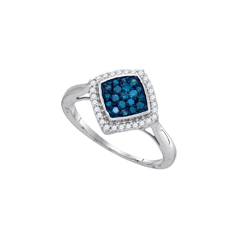 10k White Gold Blue Colored Round Diamond Womens Diagonal Square Cluster Fine Fashion Ring 1/3 Cttw