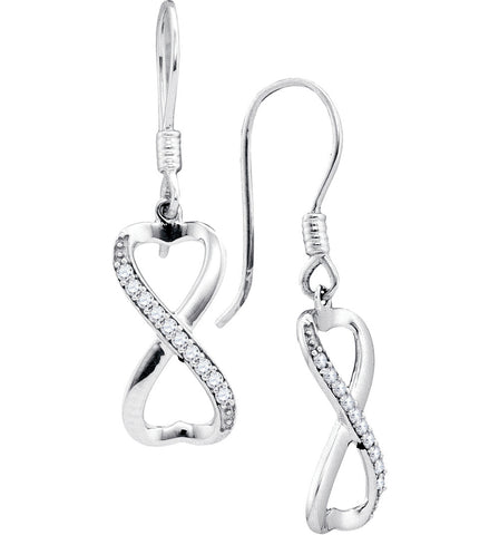 10k White Gold Round Diamond Womens Infinity-weave Dangle Ear-wire Earrings Anniversary 1/5 Cttw