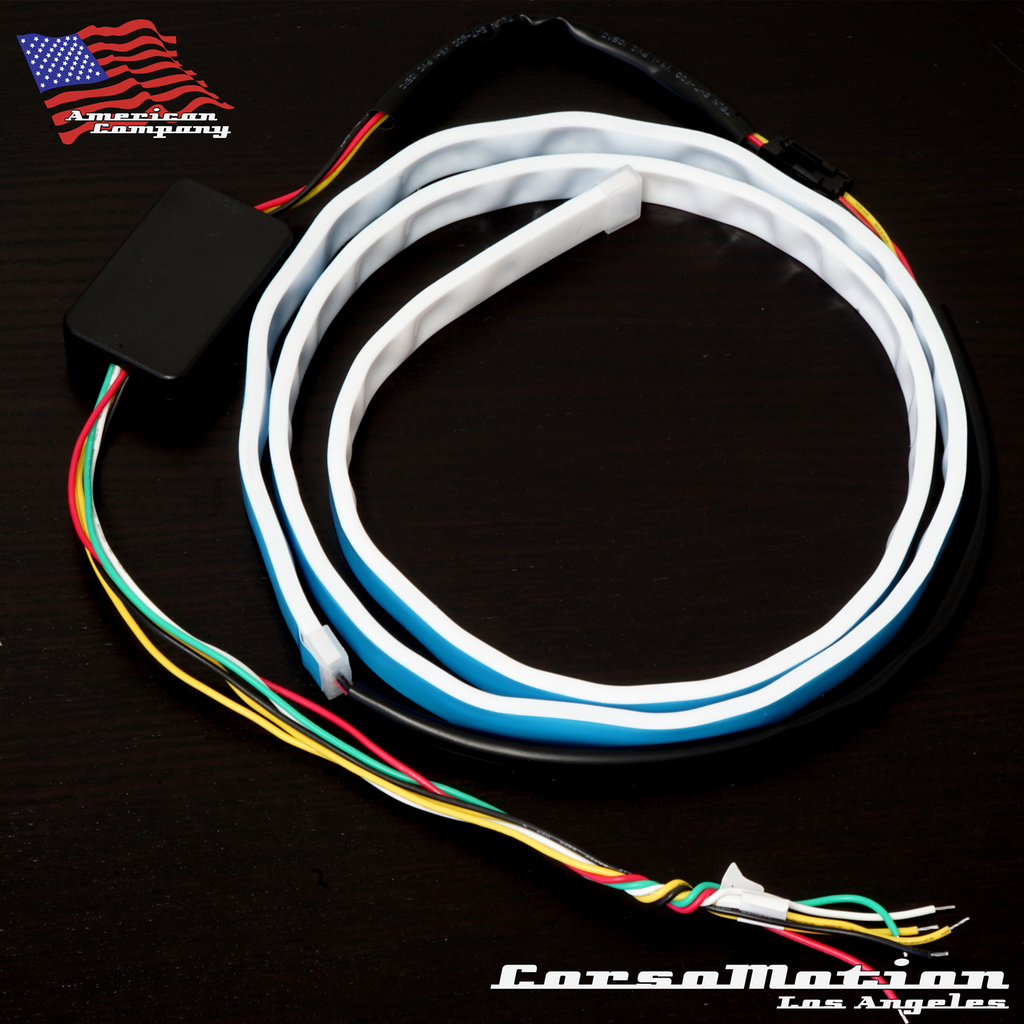 Trunk Smile Led Bar Dual Color Sequential Turn Signal Brake Wiring Diagram Line Waterproof Ice Blue Red Each