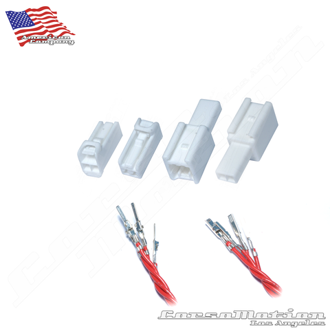 Set Male Female 2P 060M 060F WHITE Plugs with wired terminals, Honda taillights harness | 2x Male, 2x Female