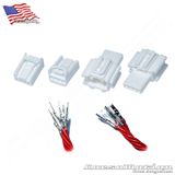 Set Male Female 4P 060M 060F WHITE Plugs with wired terminals, Honda taillights harness | 2x Male, 2x Female