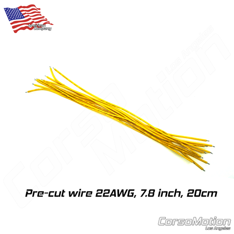 Pre-cut wire YELLOW 22AWG 7.8inch/20cm