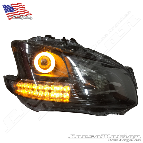 Flexible LED Sequential strip bar for headlights, White Amber custom clear block type | PAIR