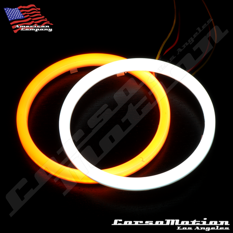 95mm Dual Color Switchback Halo Rings Angel Eye, DIY, Pure White / Amber | PAIR