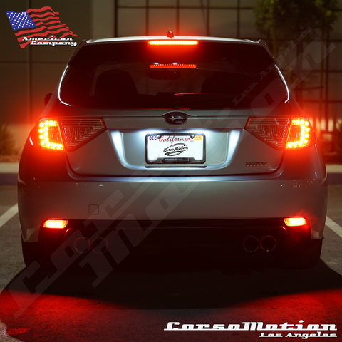 Subaru Impreza WRX STI POWER LED rear bumper reflectors in OEM Housing, 08 09 10 11 12 13 14 15 16