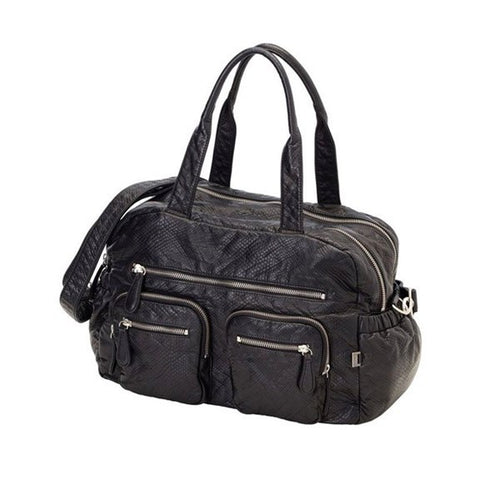 OiOi Black Faux Lizard Leather Carry All Nappy Bag