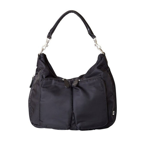 OiOi Black Nylon Two Pocket Slouch Hobo Nappy Bag