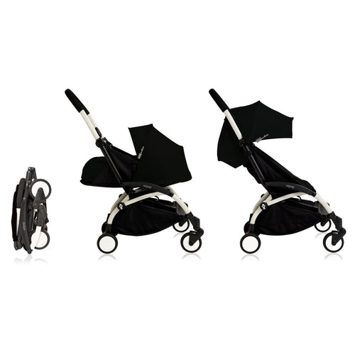 BabyZen YOYO+ White Stroller with Seat Pad and Bassinet