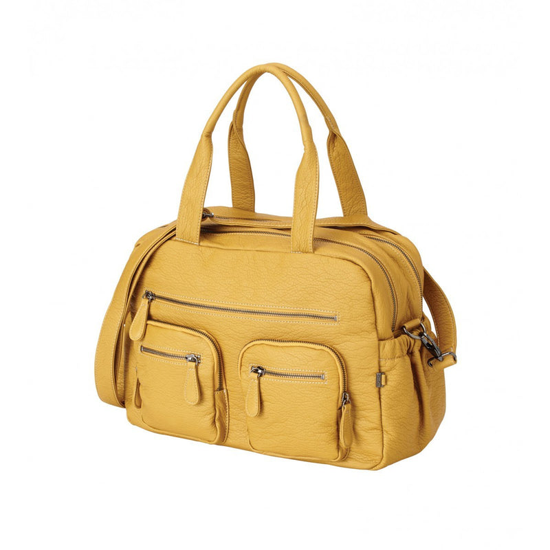 OiOi Mustard Faux Buffalo Leather Carry All Nappy Bag