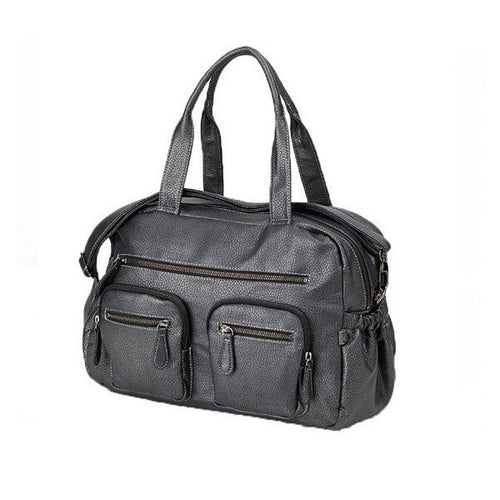 OiOi Charcoal Faux Buffalo Leather Carry All Nappy Bag
