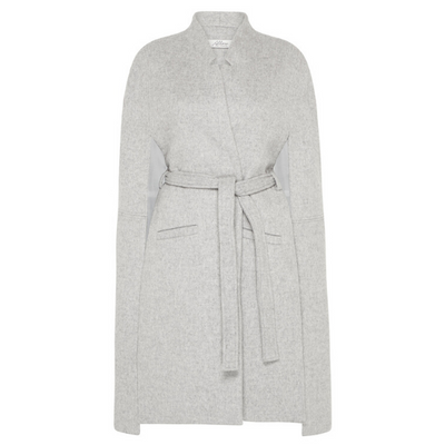Victoria Longline Wool Cape - Soft Grey